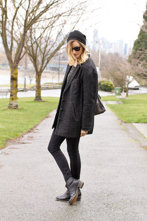 black Topshop boots - gray Urban Outfitters coat - gray XO Bella sweater