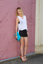 black Zara shorts - white Zara top - cream Zara heels