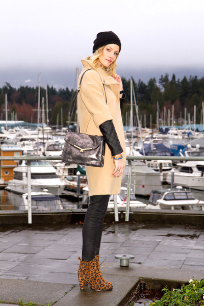 brown leopard print Zara boots - tan Zara coat - silver botkier bag