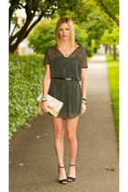 gray vintage dress - light pink H&M bag - black Zara heels