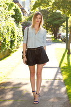 blue Guess heels - light blue Urban Outfitters shirt - silver botkier bag