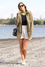 Army-green-urban-outfitters-jacket-black-choies-sunglasses-ivory-zara-skirt