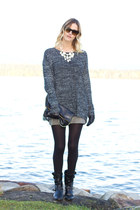 gray XO Bella sweater - black Anne Klein boots - black H&M bag