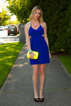 blue dress - yellow Zara bag