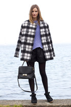 black kate spade bag - gray French Connection coat - light purple acne sweater