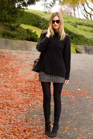 black H&M sweater - dark gray Nine West boots - gray Aritzia shirt