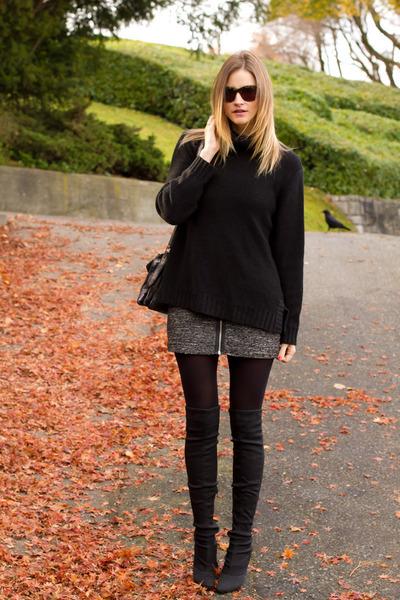 black H&M sweater - dark gray Nine West boots - gray Aritzia shirt