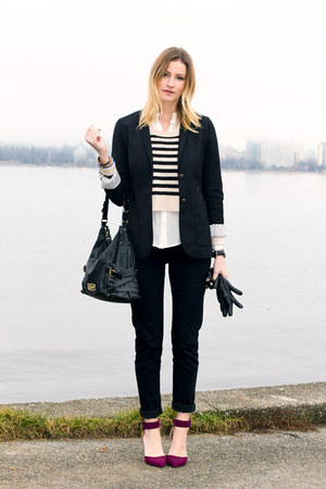 black 7 for all mankind jeans - off white H&M sweater - black Aritzia blazer