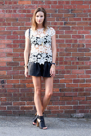 off white crochet Zara top - black leather Zara shorts - black vince heels