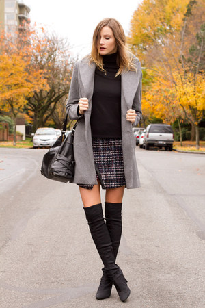 black Nine West boots - heather gray Zara coat - black H&M top