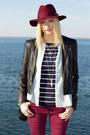 Maroon-h-m-jeans-maroon-h-m-hat-navy-h-m-shirt-brown-sportsgirl-sneakers