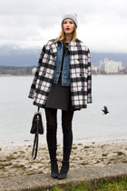 blue Topshop jacket - black Nine West boots - black In Love with Fashion dress