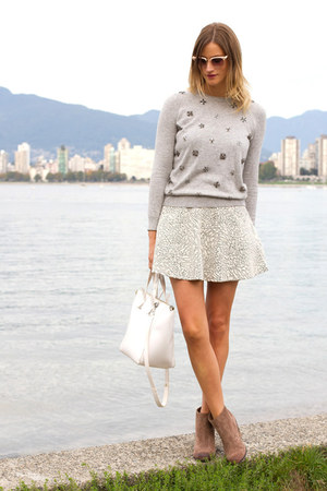 silver Topshop skirt - camel Vince Camuto boots - heather gray Topshop sweater