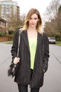Black-zara-boots-dark-gray-urban-outfitters-coat-lime-green-zara-sweater