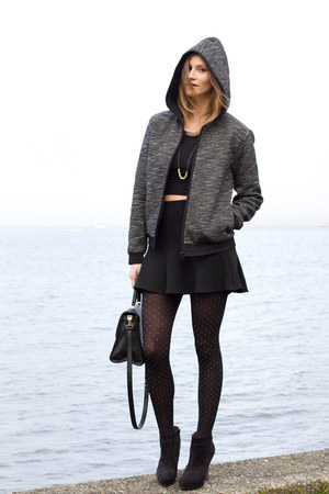 black kate spade bag - gray Alexander Wang jacket - black American Apparel top
