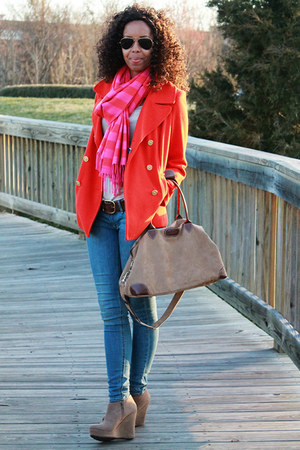 Gap scarf - Old Navy coat - H&M jeans - Cotton Traders Uk bag