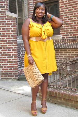 yellow ruffled ashley stewart dress - tan ankle strap Vince Camuto shoes