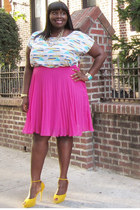 hot pink pleated Eloquii skirt - turquoise blue crop top Forever21 top
