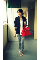 gray jeans - black blazer - red bag - white top - silver
