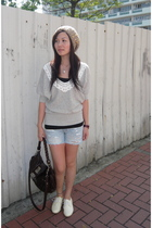 silver sweater - black top - blue shorts - white shorts