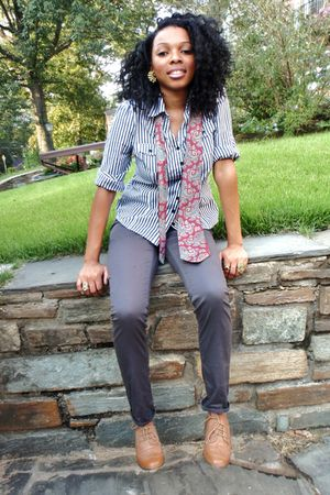blue Forever21 blouse - gray pants - red tie - beige shoes