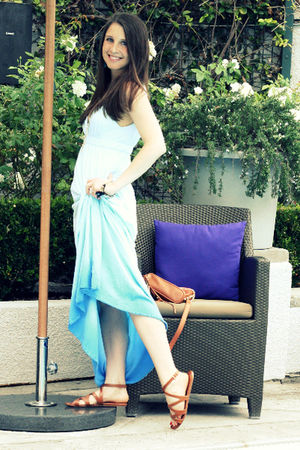 blue gypsy dress - beige Prada shoes - beige Rebecca Minkoff purse