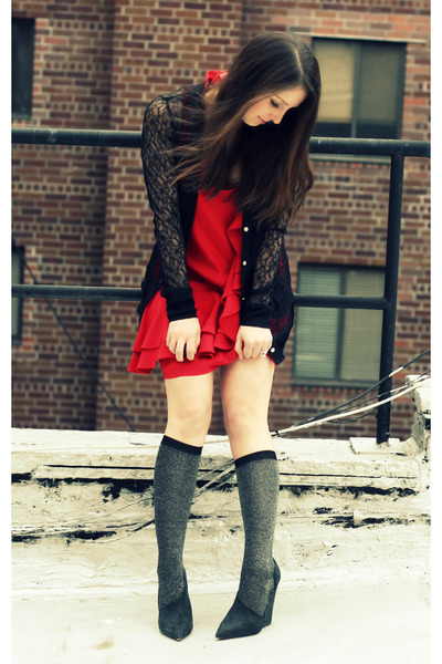 gray JCrew socks - black Elizabeth and James shoes - red Ali Ro dress - black Ro