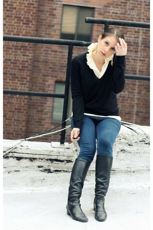 white JCrew blouse - black Cole Haan shoes - blue J Brand jeans