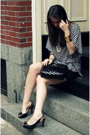 black Christian Louboutin shoes - black BCBG shirt - black Marc Jacobs bag - bei