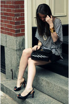 black Christian Louboutin shoes - black BCBG shirt - black Marc Jacobs bag - bei
