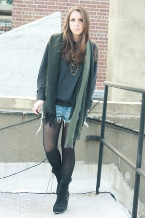 black Elizabeth and James boots - dark gray chads sweater - army green vince sca