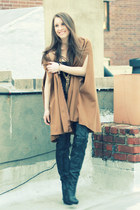 camel cape Zara coat - black Report boots - black olsenboye dress