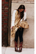 black Splendid leggings - brown Ariat shoes - white vintage sweater - beige vint
