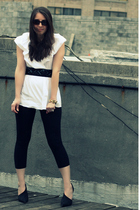 black Splendid leggings - white BCBG shirt - black Elizabeth and James shoes - g