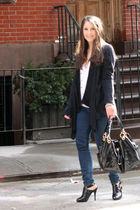 black Splendid cardigan - black Michael Kors purse - white free people blouse -