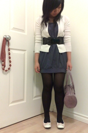 H&amp;M stockings - PI dress - Stitches belt - cardigan - PI shoes - Nine West purse