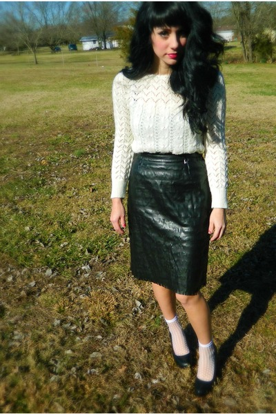 black versace skirt - cream vintage sweater - white sheer polka dot socks