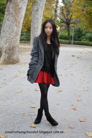 Mango coat - Zara boots - blacklace Mango blouse - burgundy Zara skirt