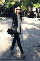 Zara blazer - washed black pull&bear jeans - new collection Zara bag