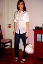 Mango blouse - Topshop jeans - shoes - LeSportSac purse