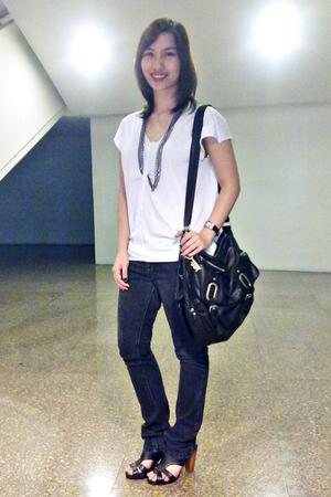Zara top - Topshop jeans - Topshop purse - sm dept store shoes