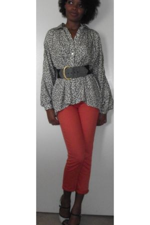 black vintage blouse - orange NY and Co pants - green Qupid shoes - gray vintage