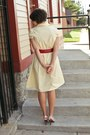 Light-yellow-polka-dot-thrifted-vintage-dress-red-thrifted-vintage-belt
