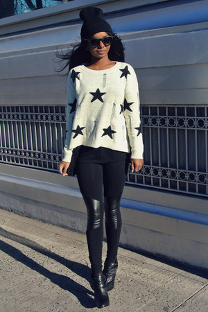 crown vintage shoes - Choies sweater - f21 leggings