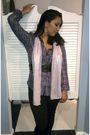 Purple-hurley-blouse-pink-scarf-black-miss-juli-leggings-black-belt