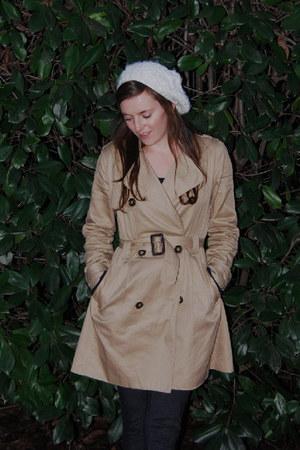trench H&M coat - white hat - jeggings TJ Maxx leggings