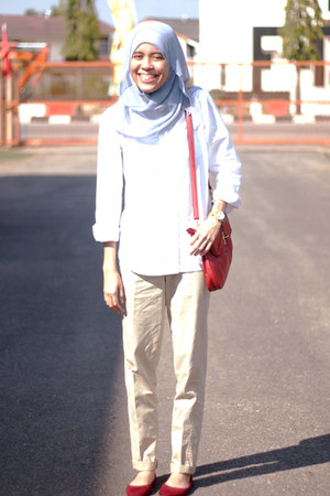 white Topshop shirt - crimson online blogshop bag - beige Topshop pants - crimso