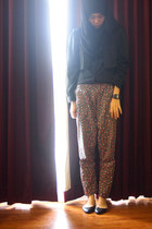 black MILKTEE shirt - black garage flats - floral diy pants