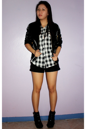 thrifted jacket - DV top - thrifted shorts - Forever21 shoes