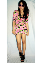 pink Topshop dress - black SM shoes - purple wwwlovechildvintagemultiplycom sung